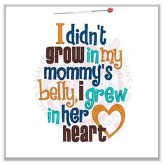 Grew In Her Heart Adoption Tee T shirt Sizes 2 4 6 8 10
