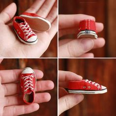 Miniature red Converse All Star for a doll, 1/6 scale. Materials: cotton, foam, polymer clay, waxed cord, mini-eyelets, acrylics.