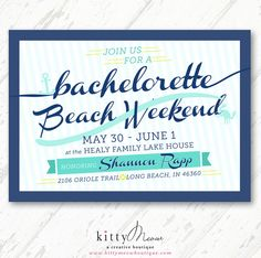 Turquoise, Navy, & Mint Nautical Anchor Beach Anchor Bachelorette Weekend Party, Bridal Shower Invitations - Qty. 12 by KittyMeowBoutique, $50.00
