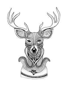 Deer Zentangle Design Art Print