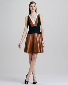 DKNY V-Neck Colorblock Leather Dress