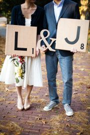 Scrabble pieces!!! While this save the date is cute, like the idea of making big pieces for the mantel or to hang on the wall