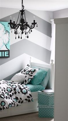 Teenage Girl Room Ideas (20 pics). Messagenote.com love the walls! I would do this wall treatment for a teenagers room Maybe with yellow accents but I like teal to and would be more cohesive