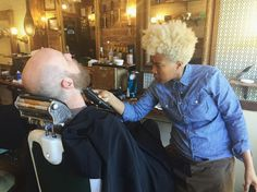 Our newly bleached blonde barber Yollanda takes her beard trims seriously using her clippers with precision and love. Let #thelandofbarbers groom you to make all your mamas proud on #MothersDay.  #greenpoint #nyc #newyork #newyorkcity #brooklyn #barbers #sunday #masterbarbers #beardtrim #beardlove #beards #haircut #salon #barbershop #barbershopconnect #grooming #mensfashion #mensgrooming #men #beardgrooming by thelandofbarbers