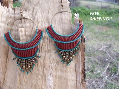 FREE SHIPPING Boho macrame earrings - Limited edition, hippie earrings, gipsy style, hoop earrings, summer collection!!