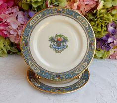 2 Beautiful Lenox Porcelain Salad Plates Autumn ~ Enamel Fruit Scrolls #Lenox