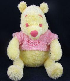 Disney Yellow Winnie The Pooh Bear Plush Stuffed EUC Pink Shirt 12 Inch #DisneyStore