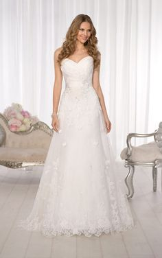 Delicate lace A-line wedding dress