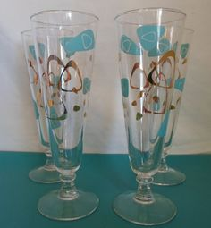 vintage retro mid century modern set of four Atomic Era Boomerang Pilsner glasses