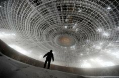 Bulgarian Communist Party House -looks like the spaceship scene from 'Close Encounters'!