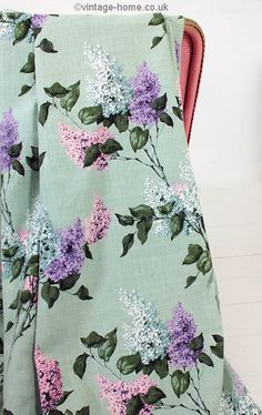 Vintage Home Shop - Pretty Lilac Blooms adorn these 1940s Barkcloth Curtains: www.vintage-home.co.uk