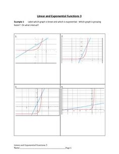 linear and exponential functions. Topics covered in this worksheet ...