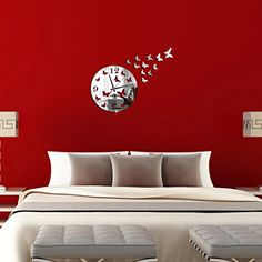 Lonsbo Butterfly 3D DIY Mirror Living Room Home Modern Design Decoration Wall Clock