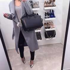 """FASHION DRUG on Instagram: """"? NEW IN! Grey waterfall coat! Available... ❤ liked on Polyvore featuring outerwear and coats"""