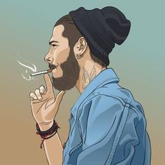 Illustration of Young handsome bearded hipster man smoking cigarette. Vector illustration vector art, clipart and stock vectors. Smoke Wallpaper, Cartoon Wallpaper Hd, Joker Wallpapers, Boys Wallpaper, Shiva Wallpaper, Cute Cartoon Pictures, Cute Love Cartoons, Cute Profile Pictures, Photo Profil Facebook