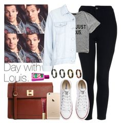 """Day with Louis."" by welove1 ❤ liked on Polyvore featuring Topshop, Forever 21, Converse, ASOS, Too Faced Cosmetics, women's clothing, women, female, woman and misses"