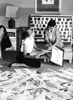 Grace Kelly & Edith Head at Head's studio in Paramount, 1954