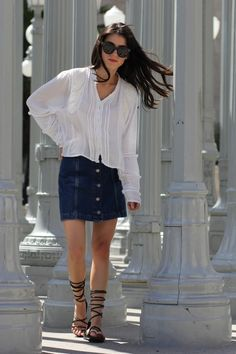 This denim skirt is perfect for summer!