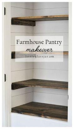 Super cute DIY Farmhouse Pantry Makeover via littleglassjar.com