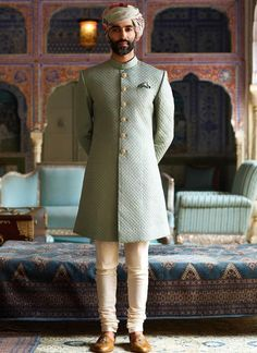 Powder Green Color Raymond Silk Sherwani