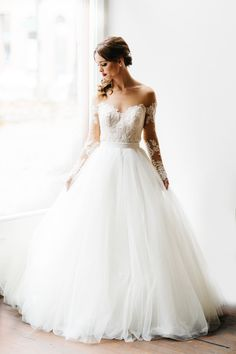 gorgeous #white #weddingdress with sheer #sleeves @weddingchicks