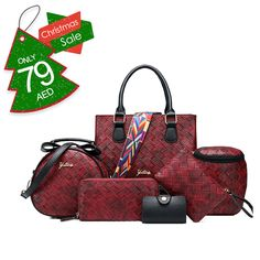 Wave Fashion Style Knitting Picture Portable Shoulder Bag Burgundy  Product Code: HB5886