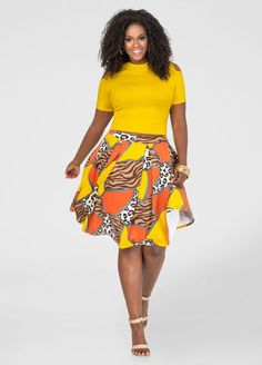 2552348e19250 Mixed Print Box Pleat Skirt … Plus Size Summer Dresses