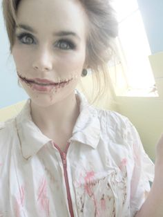 Forget sexy nurse! Love this idea. Need: lash glue, tissue paper, makeup, theater blood.