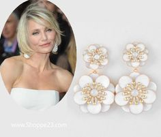 """Statement Earrings have been trending since 1960, and the trend continues here in White & Gold for Summer 2013: White Statement Earrings 3 1/4"""" L x 1 3/4"""" W Celebrity (Cameron Diaz) Inspired Bridal Jewelry Boxed  $22.00 Free USA Shipping"""