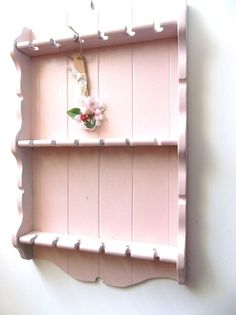 French White Shabby Rustic Wall Shelf. Vintage Spoon Rack Holder ...