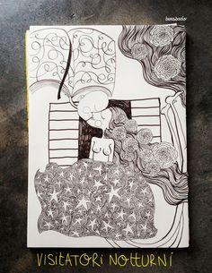 Un uomo/libro accorre da una donna/coperta di stelle, la notte è il momento degli incontri con le parole, con le idee, con tutti quei visitatori notturni che scappano all'alba lasciando rose tra i capelli ondulati.