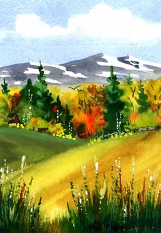 Autumn Mountains, watercolor by Kim Attwooll Watercolor Scenery, Watercolor Projects, Watercolor Landscape Paintings, Watercolor Trees, Watercolour Tutorials, Landscape Art, Mountains Watercolor, Wow Art, Beautiful Paintings