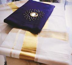 Onam Saree, Kasavu Saree, Kerala Saree, Ethnic Sarees, Silk Saree Blouse Designs, Bridal Blouse Designs, Embroidery Works, Hand Embroidery Designs, Mirror Work Blouse Design