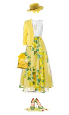 Walking on Sunshine by kiki-bi on Polyvore featuring polyvore fashion style Alaïa H&M Lela Rose René Caovilla Bill Blass Dorothy Perkins SuperDuper Hats Ray-Ban clothing floralprint yellowbag floralskirt Yellowjacket Spring2017