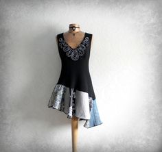 Long Black  Top Boho Chic Eco Clothing Altered Couture Patchwork Clothes Women's Bohemian Shirt Festival Tunic Upcycled Tank L 'REBECCA'