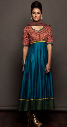 Turquoise blue anarkali set available only at Pernias pop-up shop.