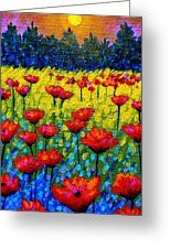 Detail From Twilight Poppies Greeting Card by John Nolan