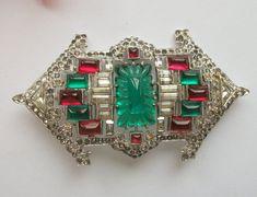 Vintage Art Deco Silver Nickel Brooch, Rhinestone, Ruby & Emerald Paste Gems, Saks of Fifth Avenue, Vintage Wedding, Bridal Gift
