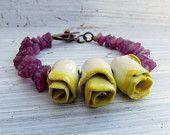Yellow Roses - handmade bracelet, yellow bracelet, bead bracelet, rose bracelet, gemstone jewellery, songbead, uk, rustic gemstones