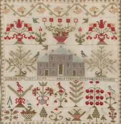 Scottish Sampler ~ 1817 ~ George III ~ Worked overall in colored silk threads on a linen gauze and depicting floral designs with trees, urns issuing flowers and birds, centered with a depiction of a large Georgian house with 'Jane Brown Embroidery Sampler, Cross Stitch Embroidery, Embroidery Patterns, Cross Stitching, Cross Stitch Designs, Cross Stitch Patterns, Cross Stitch Samplers, Needlework, Pixel Art