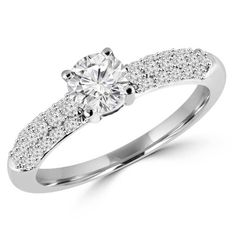 - Majesty Diamonds - 1 1/10 CTW Multi Stone Pave Round Diamond Engagement Ring in 14K White Gold, $2,109.00 (http://www.majestydiamonds.com/1-1-10-ctw-multi-stone-pave-round-diamond-engagement-ring-in-14k-white-gold/)