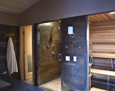 modern bathroom Ballard Pool House Sauna in Master Suite