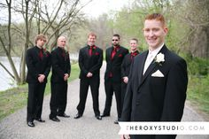 Photographed by Samantha McGranahan, The Roxy Studio. Wedding, groom, groomsmen, red and white wedding, red and black wedding