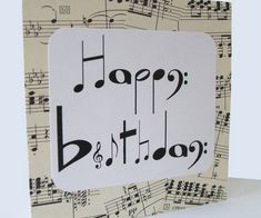 DIY sheet music birthday card paper crafts