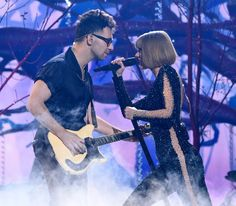 Taylor Swift and Jack Antonoff performing 'Out Of The Woods' at the 58th Annual GRAMMY Awards