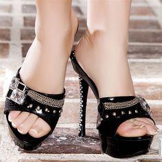 Wedges woman black elasthomère heels 14 cm size 38, on line shop Modatoi. buy shoes on website modatoi.co.uk.
