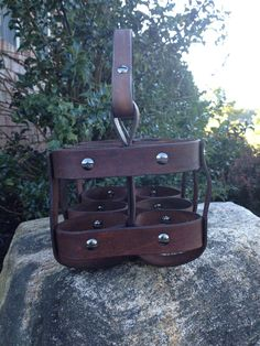 Six pack beverage carrier by Rensgadeleatherworks on Etsy
