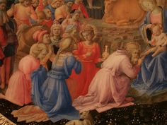 Fra Angelico (Guido di Pietro), 1400-1455, Italian, and Fra Filippo Lippi, c.1406-1469, Italian, The Adoration of the Magi (detail), c.1440-1460. Tempera on panel. National Gallery of Art, Washington DC. Early Renaissance.