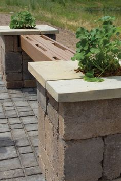 Add a little pizzazz to your patio with a Planter Bench! Made with Belgian Blocks and Wetcast Yorkstone, this bench provides spacious seating and two divine plant holders.