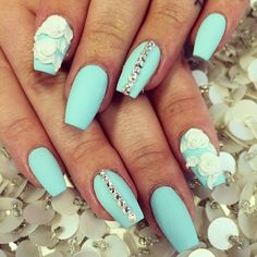 Aqua with White Acrylic Flower Nail Art! Would love if they were almond shaped !